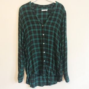 Kenneth Cole Black and Green Flannel